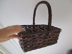 vinatge w handle primative Twig Woven Gathering Basket Egg Vegetable Market