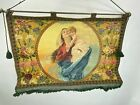 Antique Italian Madonna & Child Hand Painted Woven Border Tapestry 19th Century