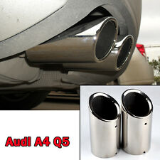 2 x Stainless Steel Rear Chrome Exhaust Tail Muffler Tip Pipe for Audi A4 B8 Q5