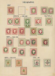 HELIGOLAND STAMPS 1867-1879 HELGOLAND QV EXCELLENT ALBUM PAGE TO 5m