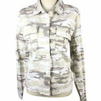 NWT Sanctuary Camo 2 Pocket Shacket Small Cream Beige Gray Jacket Military $139