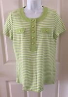 Jones New York Signature Shirt Womens Large Top Green White Striped Short Sleeve