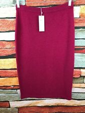 $328 NWT EILEEN FISHER HIBISCUS RED FINE GAUGE CASHMERE CALF LENGTH SKIRT S