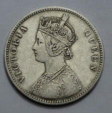 RARE 1875 BRITISH INDIA VICTORIA QUEEN ONE RUPEE RAREST SILVER COIN !