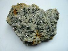 Pièce de cristaux de Pyrite ( octaèdres) sur Quartz