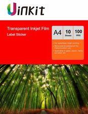 A4 Transparent Self Adhesive Printable Stickers Film Inkjet Printer - 10 Sheets