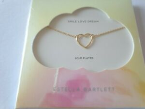 ESTELLA BARTLETT GOLD PLATED 18K OPEN HEART PENDANT NECKLACE SMILE LOVE RRP £21