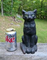 "Antique 1920s NATIONAL FOUNDRY Cast Iron Black Cat Green Eyes Doorstop 9"" RARE!"