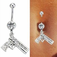 1pc Clear Nice Gun Dangle Belly Button Navel Ring Body Jewelry For Cowgirl