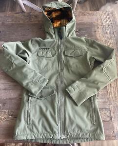 B by BURTON Women's Dry/Ride Snowboard Ski Waterproof OLIVE ARMY Green Jacket XS