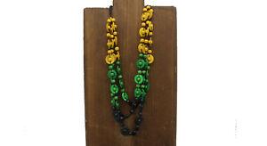 Triple stylish Jamaica colour necklace coconut shell