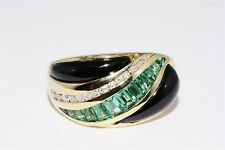 $2,150 1.18CT NATURAL COLOMBIAN EMERALD, ONYX & DIAMOND COCKTAIL RING 14K GOLD