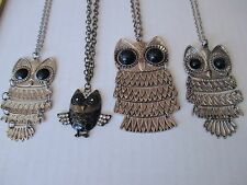 LOT of 4 figural OWL necklaces rhinestone cute variety silver tone long metal