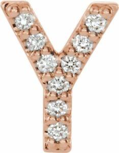Diamond Single Initial Y Earring In 14K Rose Gold 04 CTW)
