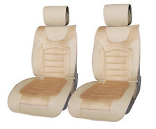 Leatherette w Suede 2 Front Car Seat Cushion Covers for Truck SUV Van 8802 Tan