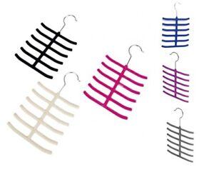 NON SLIP FLOCKED TIE HANGER Belt/Scarf/Coat Hook Wardrobe Holder/Organiser