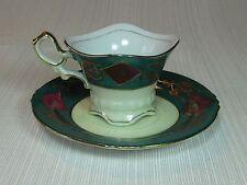 UCAGCO China of Japan Green Rim Demi Cup and Saucer Hand Painted Lots of Gold