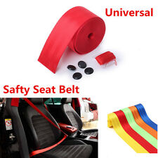 Universal 3.8m Red Harness Front 3Point Safety Retractable Car Seat Lap Belt Kit
