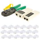 Network Ethernet RJ45 Cat5e Cat6 Cable Tester Crimper Tool Kit Lan CAT5 Set