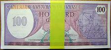 Suriname 1985 100 Gulden Banknote Rare Surinamese Paper Money South Am P#128 UNC
