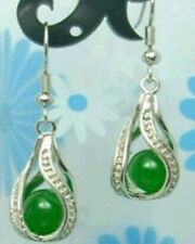 natural green Jade silver Silver hook earring