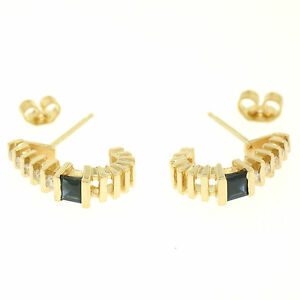 14k Yellow Gold .62ctw Channel Set Square Sapphire Bar Set Diamond Cuff Earrings
