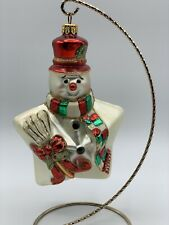 Large Snowman Star Blown Glass Christmas Holiday Tree Ornament