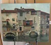 1962 Original Oil Painting Brescia, Italy Signed by Artist  ***FREE SHIPPING***