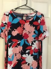 TARGET Multicoloured Floral Print Swing Dress Keyhole Button (Size 14) NWT