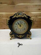 "Antique  E Ingraham Ornate "" CUTE"" Clock Footed Mantle Shelf Works/Key/Pendulum"