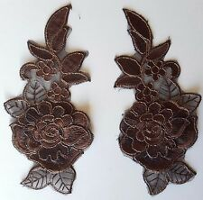 Pair Gold Chocolate 3D Floral Embroidery Applique Motifs Lace Sewing Trim EB0300