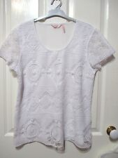 MILLERS WHITE LACE BLOUSE SHORT SLEEVED SIZE LARGE