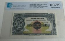 More details for britan armed forces £5 note uncirculated 1958 five pound graded ee1 292236