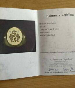 585 Gold Wappen Siegelring Herren Damen Ring mit Diamanten, 12gr. + Zertifikat