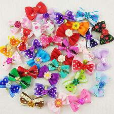 50pcs Wholesale Multicolor Mix Pet Dog Hair Bow Flowers Flat Rubber Bands