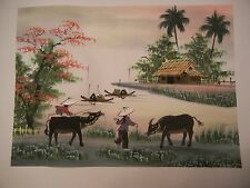 Chinese Asian Oriental Painting On Silk- Village with Water Buffalo - Signed