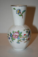 "Aynsley Pembroke - 5 1/4"" Hexagonal Vase with Flowers and Gold Rim England"