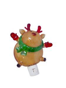 Christmas Night Light Deer w/ Scarf Mittens Multicolor Hard Plastic C1407 Works