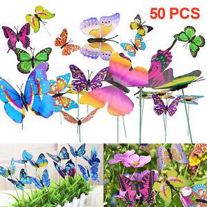 50Pcs Butterfly Dragonfly Stakes Outdoor Yard Plant Flower Pot Garden Decor Art