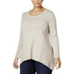 NEW $59 Style & Co Womens Crewneck Sweater Knit Top Plus Sz 0X NWT Beige XL