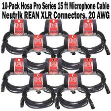 10-Pack Hosa Pro Series 15 ft XLR Microphone Cable Neutrik REAN Connectors HMIC