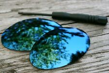 Dark Navy Blue  Mirrored Replacement Sunglass Lenses for Oakley Romeo