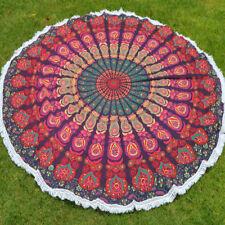Peacock mandala Indian wall hanging yoga mat round beach picnic blanket throw