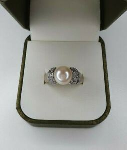 Diamonique Simulated Diamond Pearl Ring Silver 925 Size R