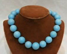 Large 20mm Blue Turquoise Polished Beaded Necklace with Gold Filled Clasp