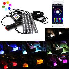 Wireless Remote Music APP Control RGB Car Interior Foot Well LED Strip Light Kit