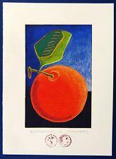 "Dimitris C. Milionis ""RED FRUIT"" Signed Colored Screen Print Greek Artist 1997"