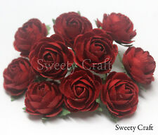 10 Red Mulberry Paper Rose Flower handmade size 2.5 cm. ( 25mm ) card SW021