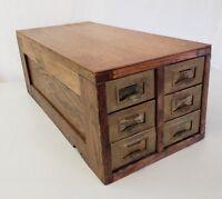 Antique vintage Oak 6 Drawer Card Library File Cabinet metal drawers