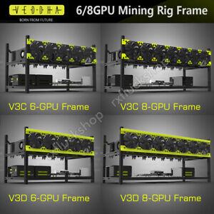 Veddha 6/8 GPU Mining Rig Frame Aluminum Housing Stackable Case Rack Bracket V3D